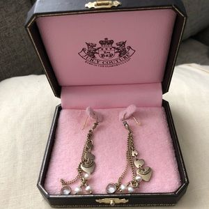 Juicy Couture gold heart drop earrings